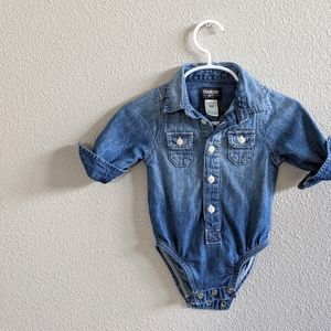 OshKosh Denim Chambray Onesie 6 Months